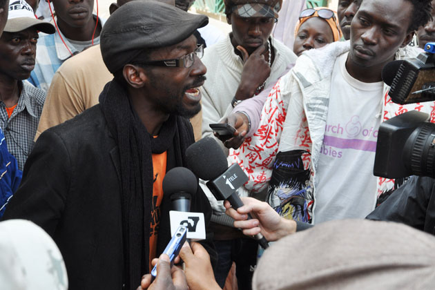 Fadel Barro, Y'en a marre, in Dakar am 3.2.2012